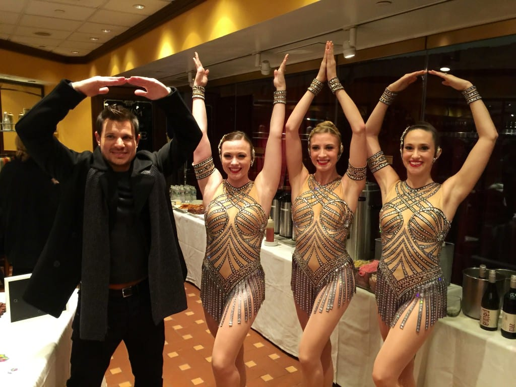 "Nick Lackey doing the ""O-H-I-O"" with Rockettes Sarah, Sarah and Kim"