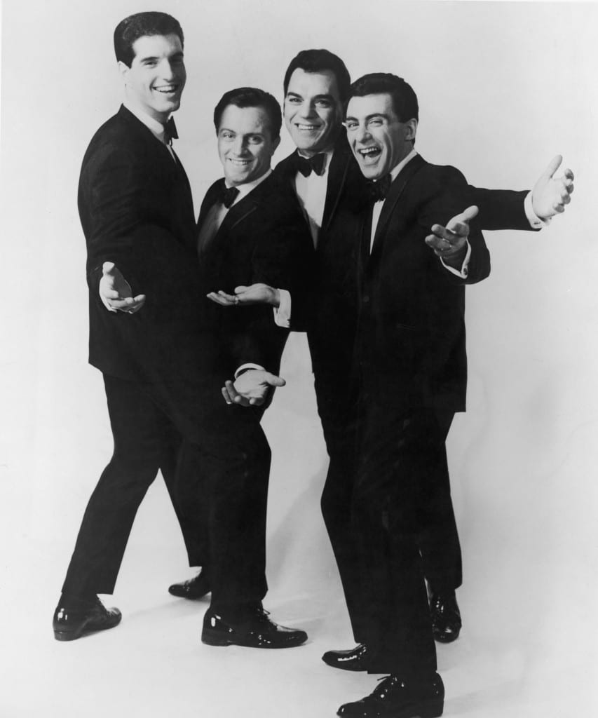 Italian-American vocal group The Four Seasons. Left to right: Bob Gaudio, Tommy DeVito, Nick Massi and Frankie Valli. (Photo Credit: Hulton Archive | Getty Images)