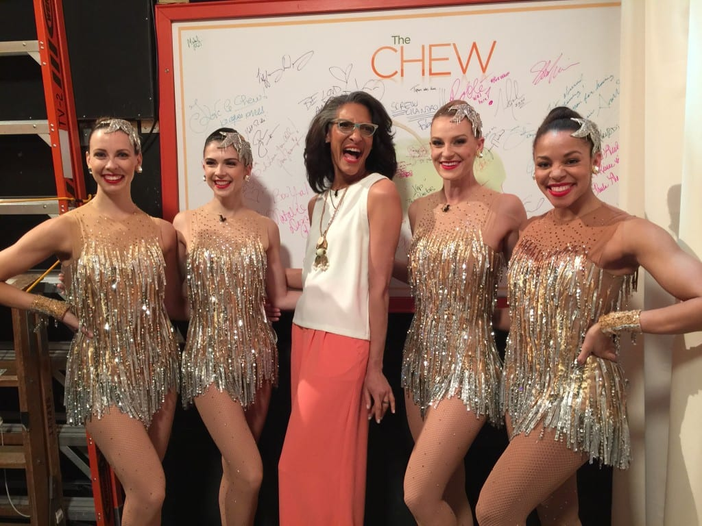 Rockettes Kristin, Sierra, Lindsay and Sam with The Chew's Carla Hall