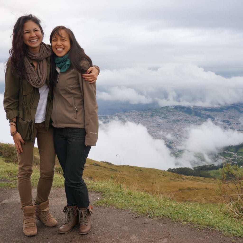 Rockette Christine (left) and her cousin Stephanie at the top of the highest point in Quito, Ecuador off the Teleferico