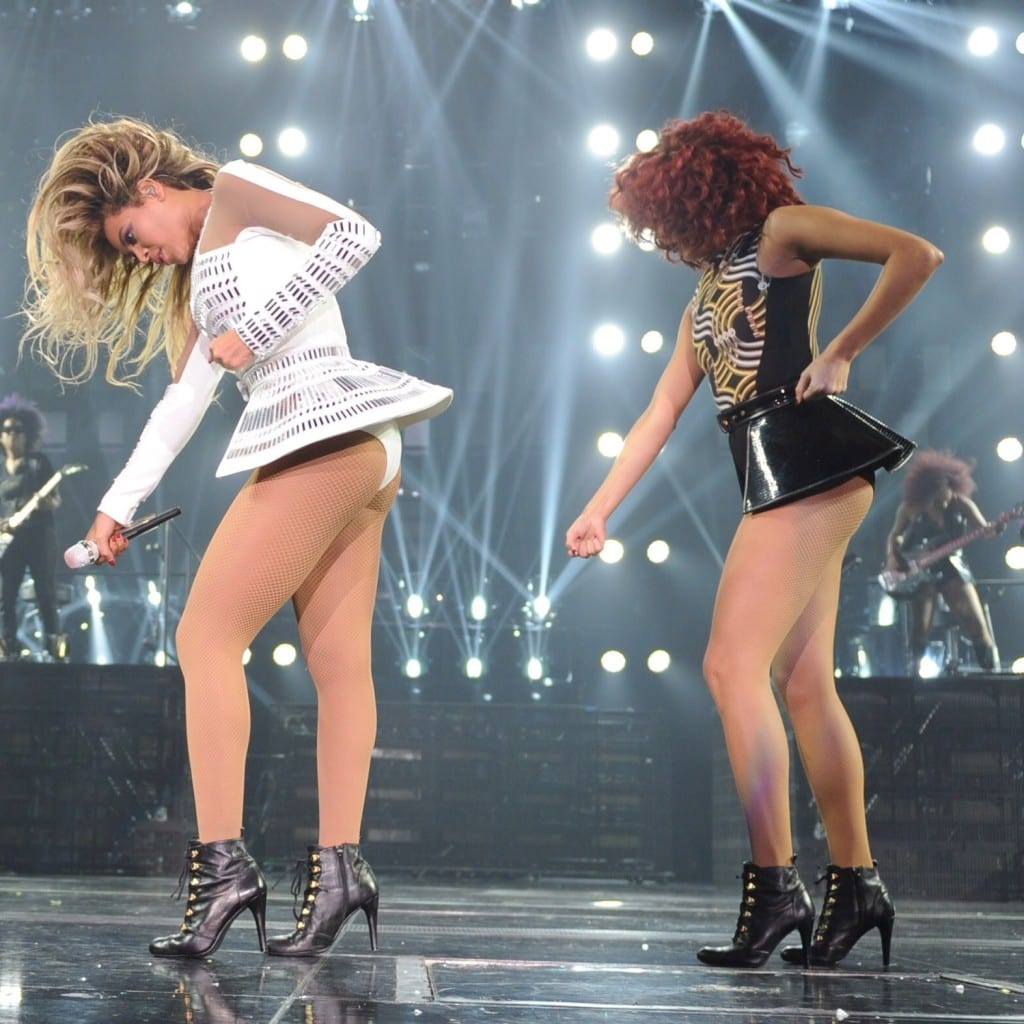 "Ashley and Beyoncé performing ""Single Ladies (Put a Ring On It)""."