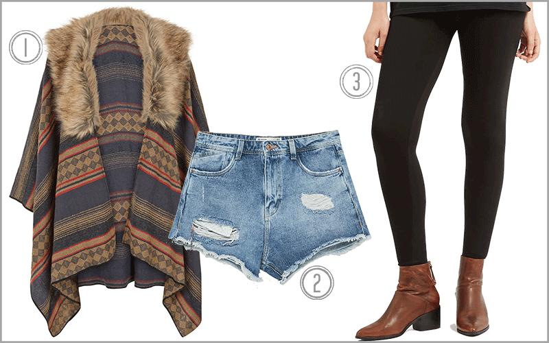 1) Diamond Faux Fur Trim Poncho, $68; 2)Zara Denim Shorts, $30; 3) Topshop Ankle Length Leggings, $20 [Photo Credits: Accessorize, Zara and Topshop]