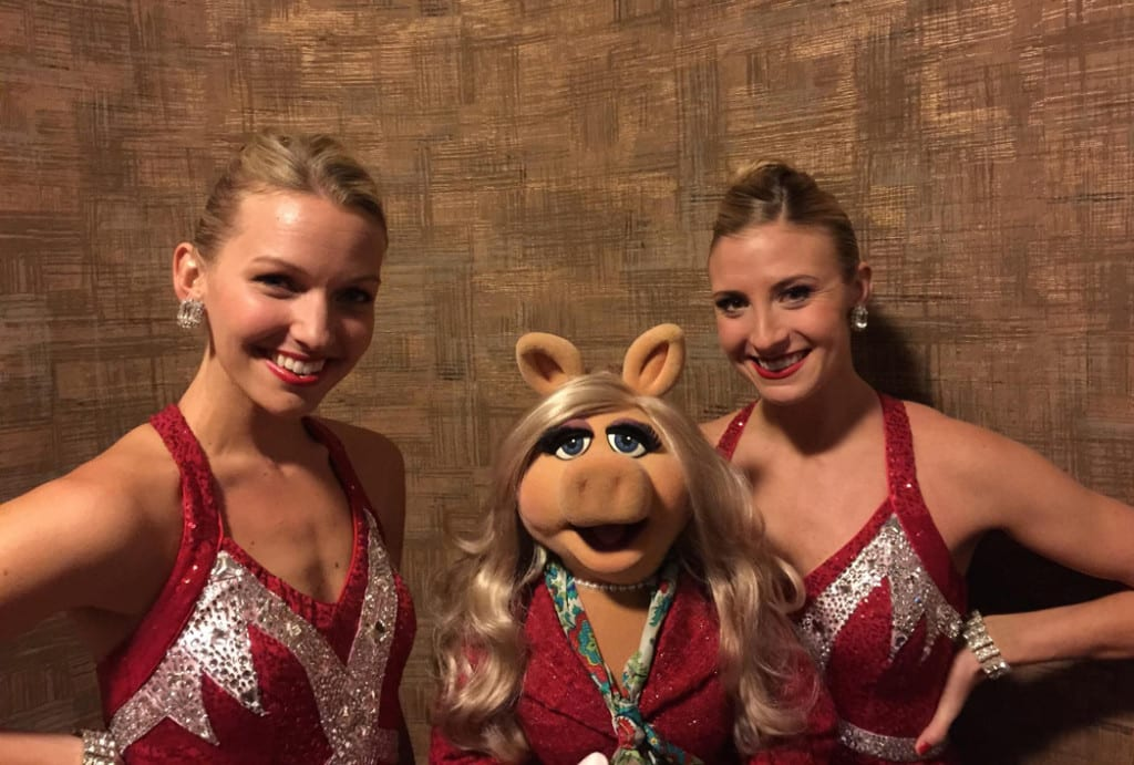 Rockettes Christina (left) and Sarah (right) posing alongside Miss Piggy