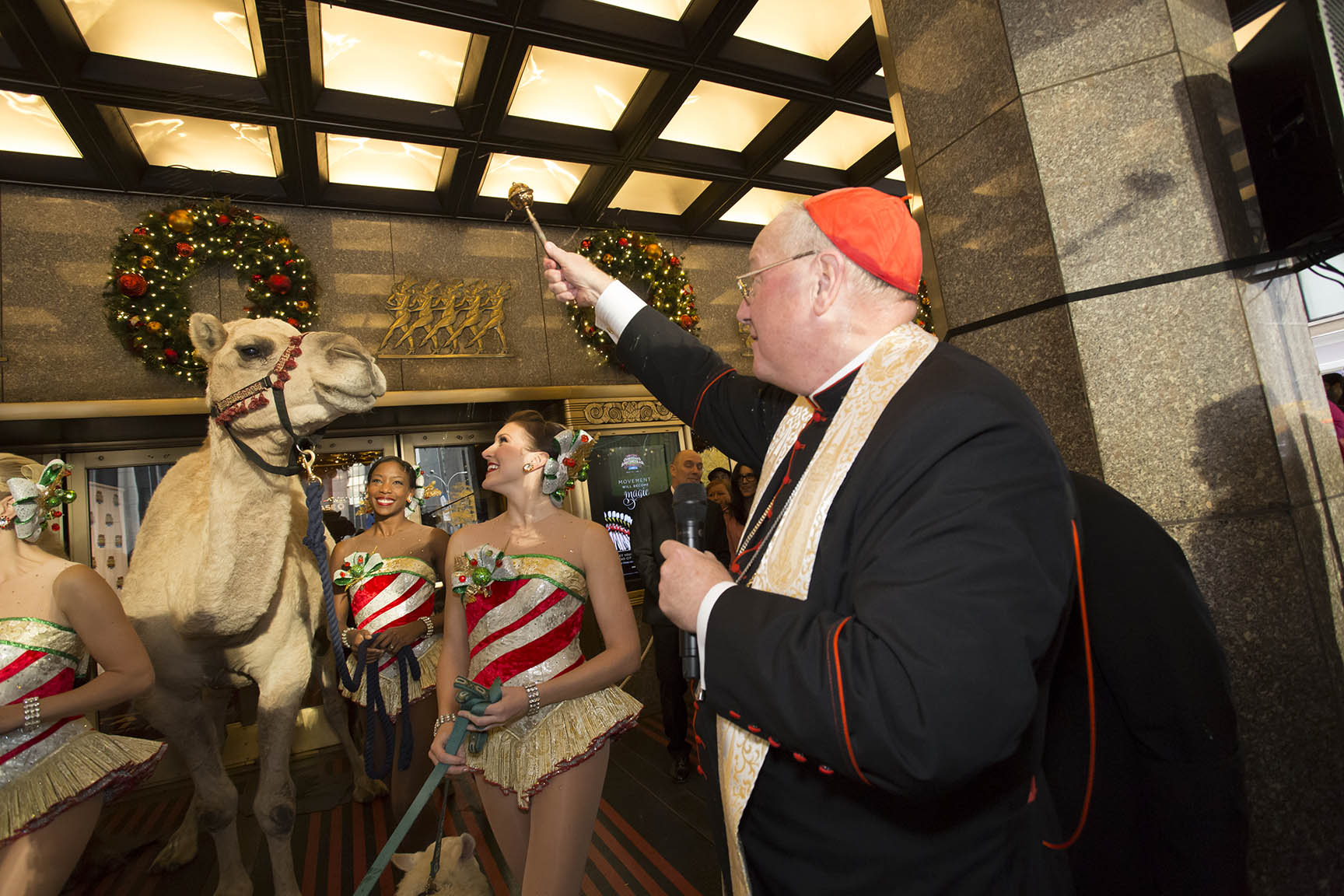 November 5, 2015 The annual animal load in for the Radio City Christmas Spectacular takes place at Radio City Music Hall in New York City. The animals are blessed by Cardinal Dolan before being brought in for first rehearsal for Christmas Spectacular.