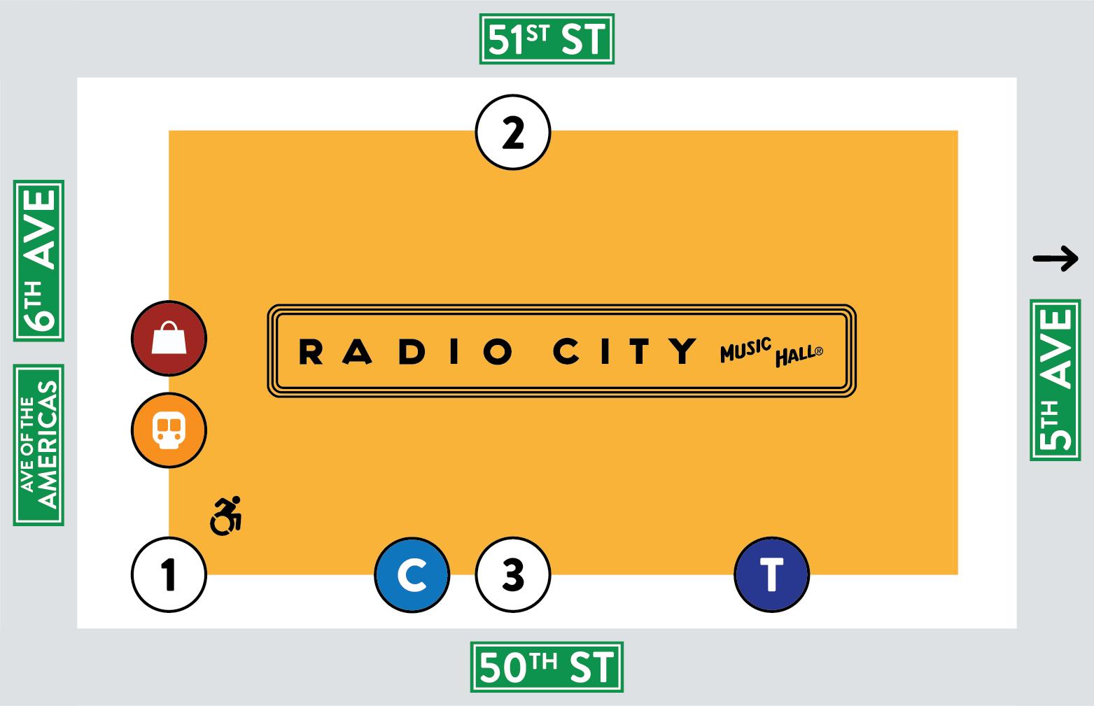 Radio City Music Hall Entrance Map