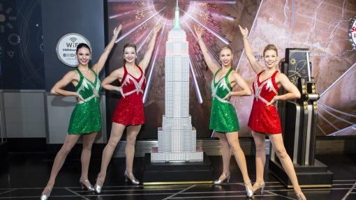 The Empire State Building Lights Up for the Christmas Spectacular